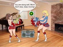 Young hot cheerleaders seduce the adult audience