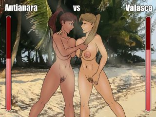 Nude lesbians fight in a free lesbian sex game